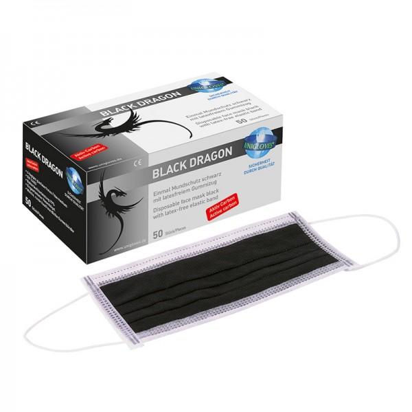 Mundschutz Unigloves Black Dragon 2.0 schwarz mit Gummizug