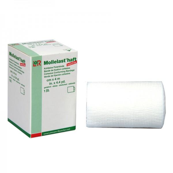 Kohäsive Fixierbinde L&R Mollelast haft latexfrei weiß einzeln verpackt