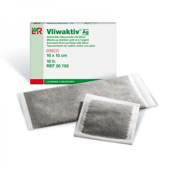 Aktivkohle-Tamponade L&R Vliwaktiv Ag mit Silber steril