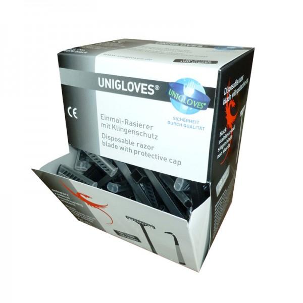 Einwegrasierer Unigloves schwarz mit Schutzkappe