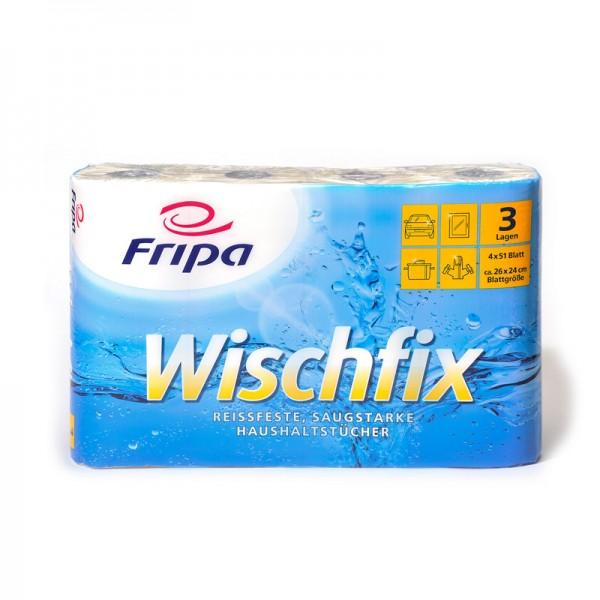 Küchenrollen Fripa Wischfix Tissue-Haushaltstücher 3-lagig, weiß, 8x4 Rollen