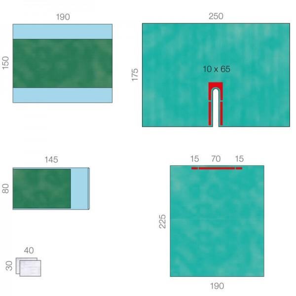 OP-Abdecksystem L&R Raucodrape PRO Basis-Schlitztuch-Set steril