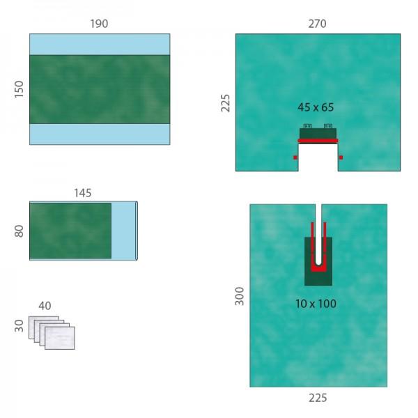 OP-Abdecksystem L&R Raucodrape PRO Universal-Schlitztuch-Set II steril